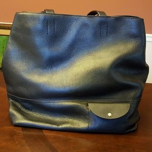 J. Crew All Day Tote Bag Black Leather